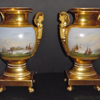 A pair of Paris porcelain Empire vases