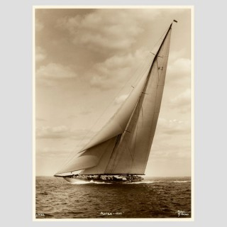J Class Yacht Astra, early silver gelatin photographic print by Beken of Cowes.