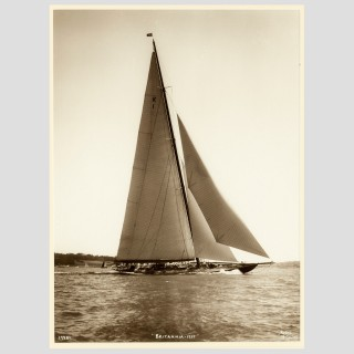 K1 HRH Yacht Britannia, early silver gelatin photographic print by Beken of Cowes.