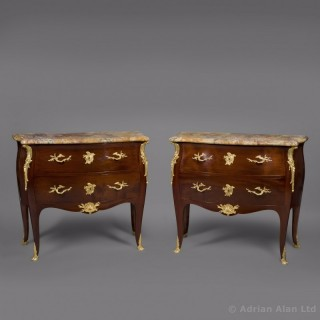 A Fine Pair of Louis XV Style Gilt-Bronze Mounted Mahogany Commodes With Marble Tops