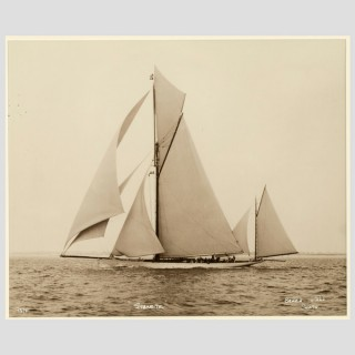 Yacht Sybarite, early silver photographic print by Beken of Cowes.