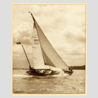 Yacht Lutine, early silver photographic print by Beken of Cowes.