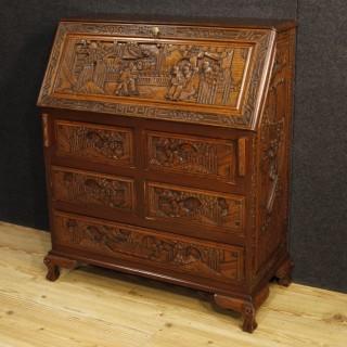 20th Century Dutch Bureau In Carved Wood