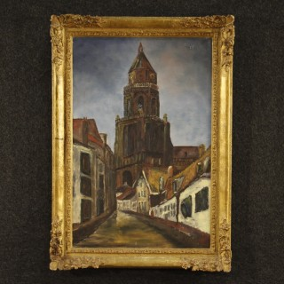 20th Century Dutch Signed Painting View of Cathedral