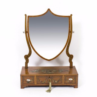 Antique Satinwood Painted Dressing Table Mirror c.1880
