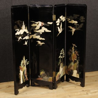 20th Century Lacquered Chinoiserie Screen