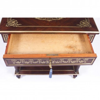 Antique French Cut Brass Inlaid Rectangular Side / Dressing Table c.1850