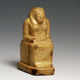 Rare and Provenanced Phoenicio-Egyptian Ivory Seated Scribe