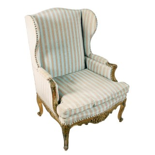 Carved & Gilded French Wing Arm Chair