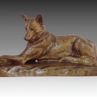 Louis Riché Bronze German Shepherd Dog