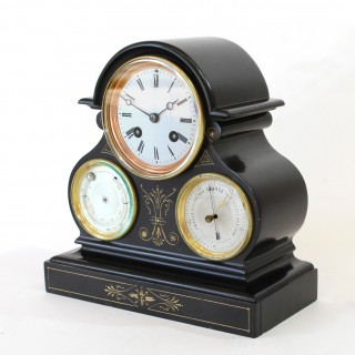 Black marble Clock, Thermometer and Barometer