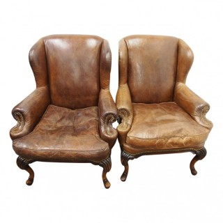 Pair of George II Style Wing Armchairs
