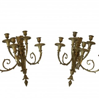 Antique Pair of Louis XVI Style Five Light Wall Sconces