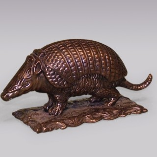 A well-cast mid 19th Century bronze Armadillo Inkwell.