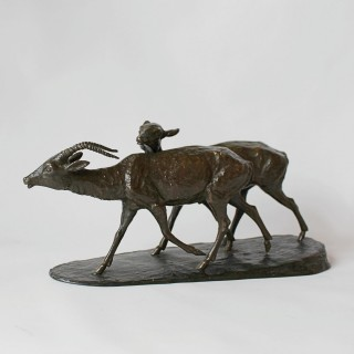 Art Deco Bronze Antelope