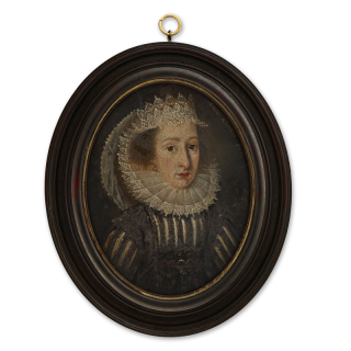 Portrait miniature of a Lady, wearing black and white slashed dress with lace-edged ruff and lace headdress, the border indistinctly inscribed 'Atatis Suae 20 16-4', c.1614
