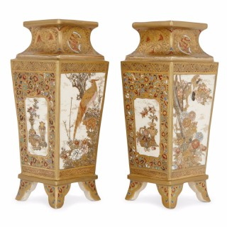 Pair of Japanese antique Satsuma porcelain vases
