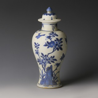 Chinese Kangxi Blue and White Meiping Vase with Birds