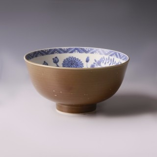 Chinese Kangxi Brown Glazed Blue and White Bowl