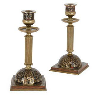 Pair of Boulle style antique brass candlesticks