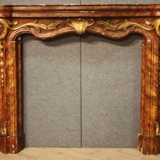 19th Century Italian Lacquered And Gild Fireplace