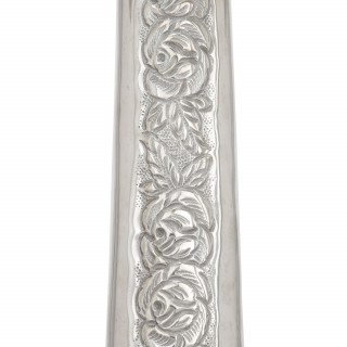 Antique Judaica Hannukah Menorah in repousse silver