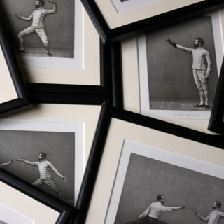 Badminton Library; Sword Fencing of 1893; A Fabulous Group of Eight Framed 19thC Photogravures of Fencing Positions