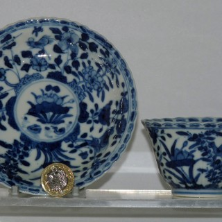 kangx Blue and White Porcelain Tea Bowl and Saucer