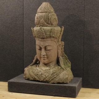 20th Century Cambodian Stone Sculpture Oriental Deity