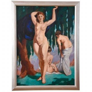 Large French Art Deco painting with three bathing nudes