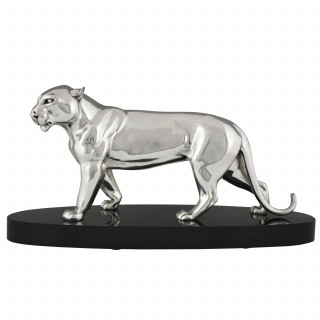 Art Deco silvered bronze sculpture of a panther.