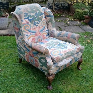Late Nineteenth Century Victorian Antique Howard Chair On Unusual Ball And Claw Feet