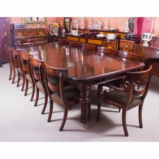 Antique 10 ft Flame Mahogany Extending Dining Table C1840 & 12 chairs