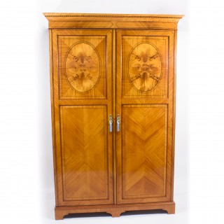 Antique English Satinwood & Tulipwood Wardrobe c.1900