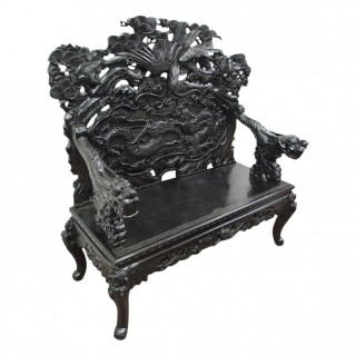Japanese Carved and Ebonised Hall Bench