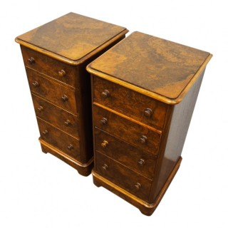 Pair of Victorian Burr Walnut Bedsides or Chest of Drawers