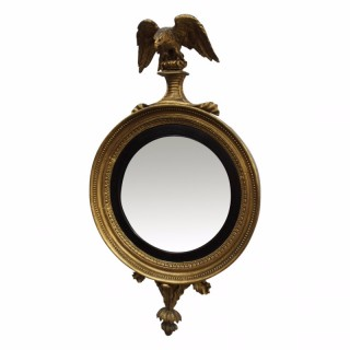 Regency Carved and Gilded Convex Mirror