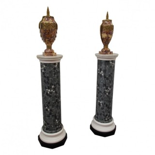 Pair of Victorian Scagliola and Marble Pedestals