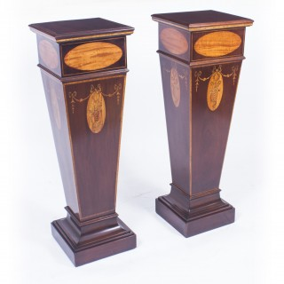 Antique Pair of Sheraton Revival Marquetry Statuary Pedestals C1900