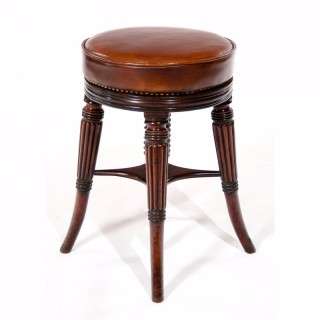 Fine Regency Mahogany Adjustable Piano Stool