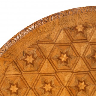19th Century Tilt-Top Oak Parquetry Inlaid Griffon Table
