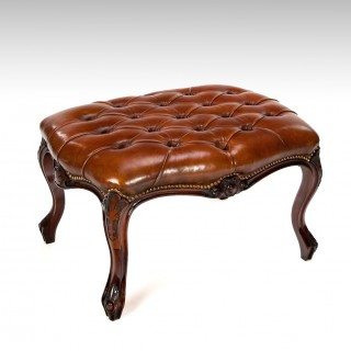 Large Early Victorian Rosewood Leather Stool