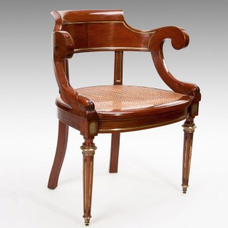 Antique French Mahogany and Brass Desk Chair