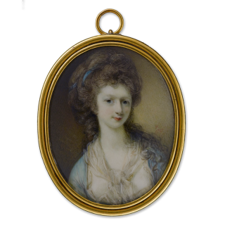 Portrait miniature of Lady Rachel Tweeke, wearing blue dress with white bodice, a white and gold scarf tied at her neck, blue ribbon in her hair