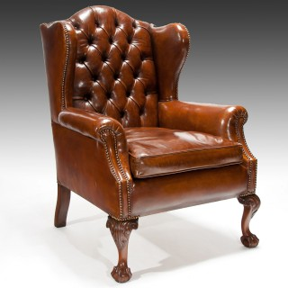 19th Century Mahogany Leather Wing Back Armchair