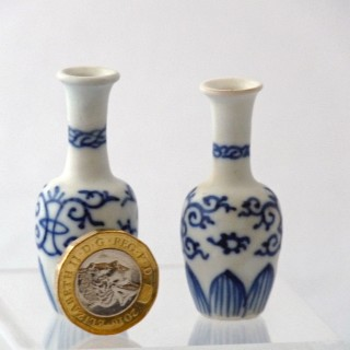 Pair of Vung Tau Miniature Blue and white Bottle Vases