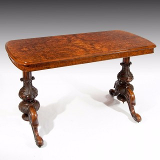Antique Victorian Burr Walnut End Support Table