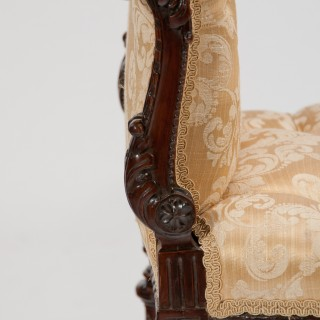Finely Carved 19th Century Scroll End Window Seat