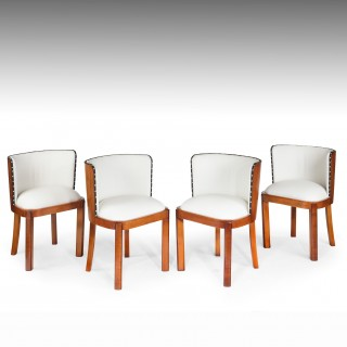 Set Of Four Walnut & Leather Art Deco Chairs