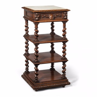 19th Century Oak Marble Topped Whatnot
